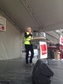 Kämpferische Rede auf der Streikkundgebung in Dortmund